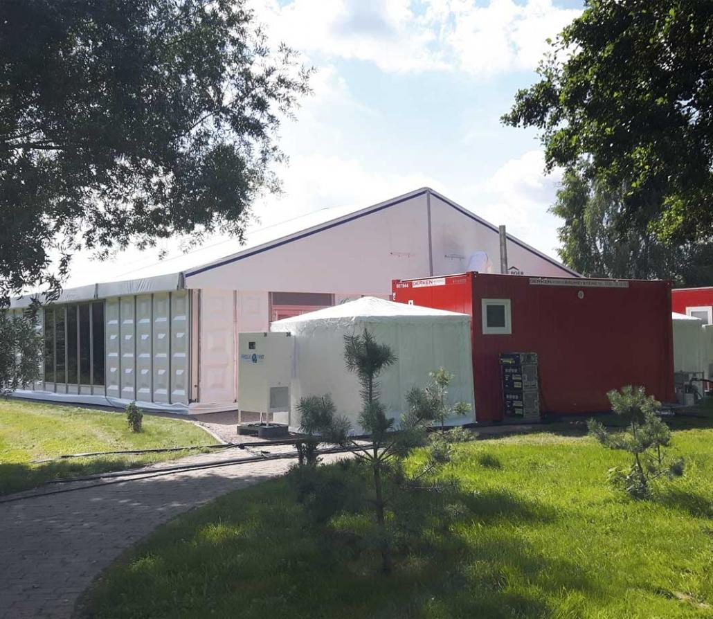 Fridge Tent Kühlzelt vor Kühlhalle